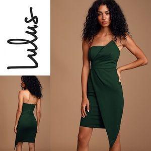 NWT LULU'S Dark Green Strapless Bodycon Dress